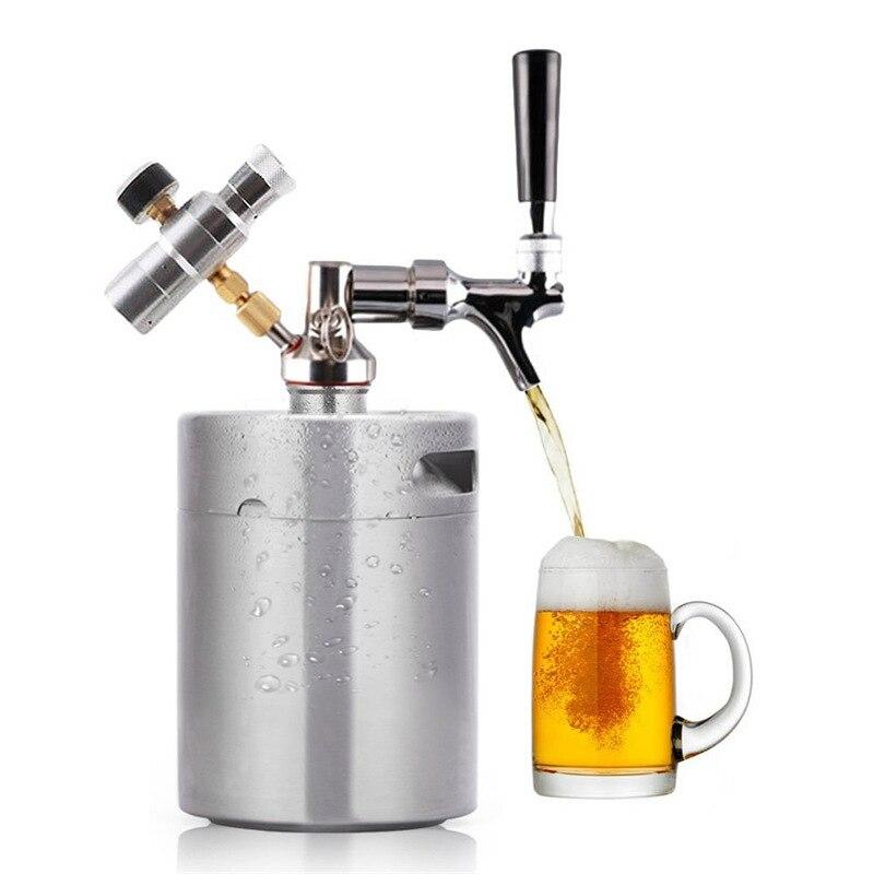 3.6L Stainless Steel Beer Keg with Faucet Pressurized Wine Shaker Home Beer Brewing Craft Beer Dispenser Growler Beer Keg System