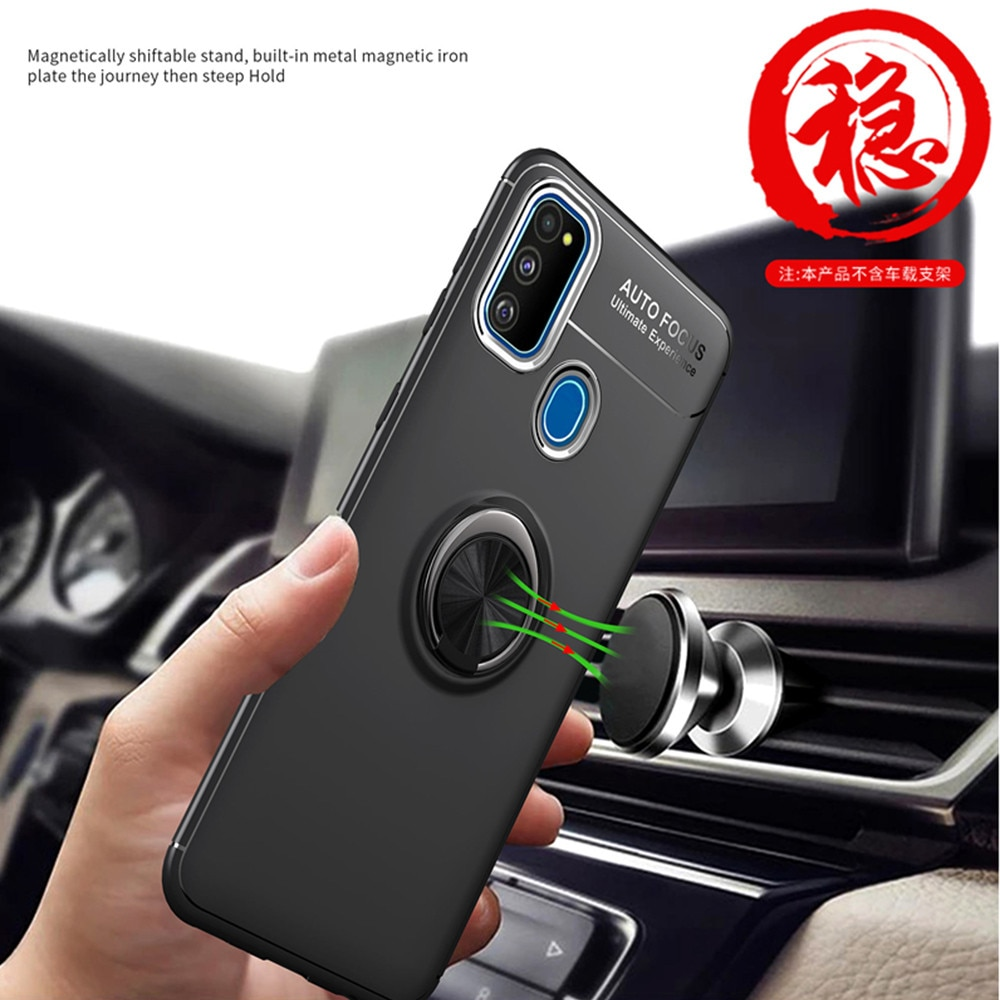 3-in-1 luxury Phone Case For Huawei Honor 9A Case Ring Stand Holder Case+Glass+Camera,Soft Matte Silicone Original Back Protective Cover Honor 9A 9C 9S Hyawei Y5P Y6P Y7P Ring Magnetic Cases enlarge