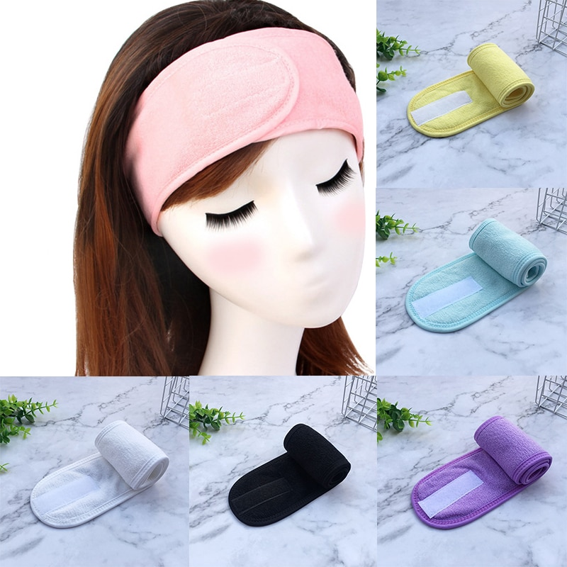 Bath Shower Hairband Soft Toweling Headbands for Face Washing Yoga Spa Cosmetic Adjustable Make Up Hair Wrap Shower Cap Band