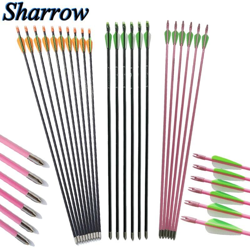 29 arquería Spine 300 fibra de vidrio flecha niños fibra de vidrio flecha eje seguro Arrowhead entrenamiento tiro arco recurvo práctica
