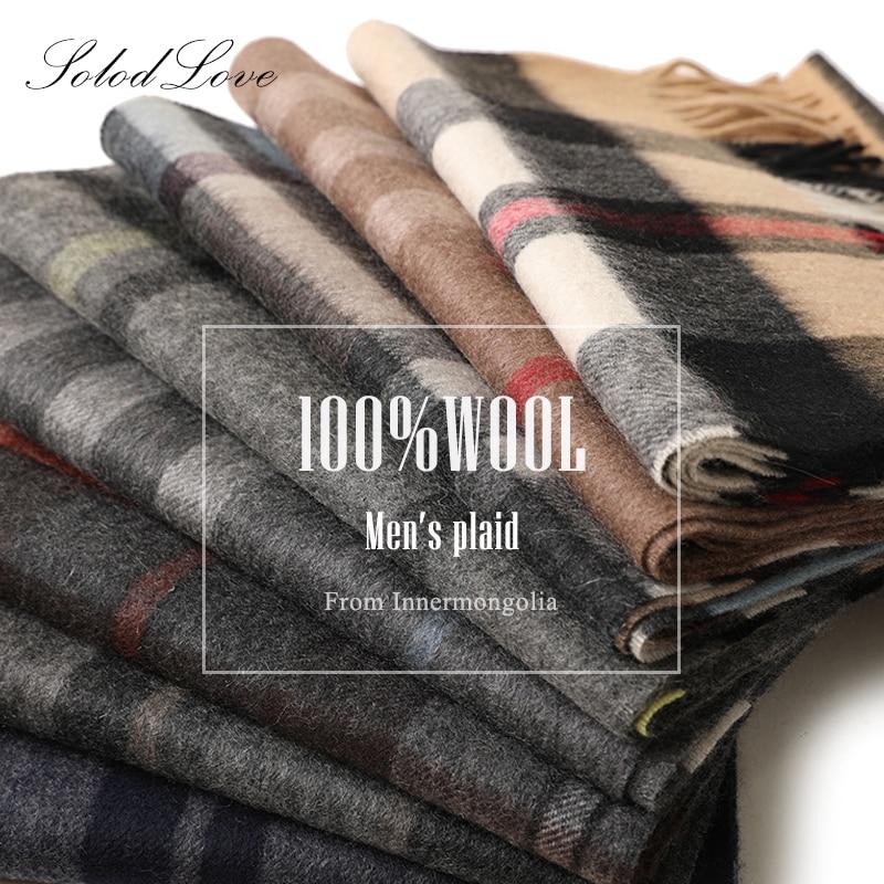 Zimowy szalik kaszmirowy męski ciepły fular wełniany szalik moda szalik na co dzień ciepły szal Pashmina mężczyźni szalik Solidlove szalik