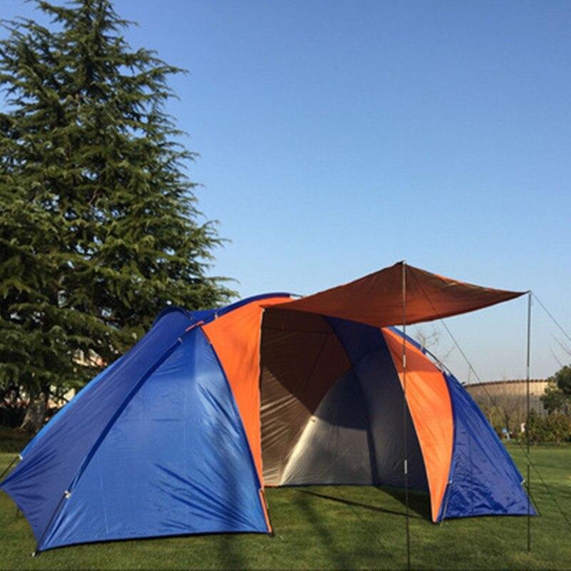 Tienda de campaña para 3-4 personas, dos dormitorios, doble capa, 210D Oxford, impermeable, gran tienda de campaña turística familiar para fiesta de senderismo 220*430*175cm