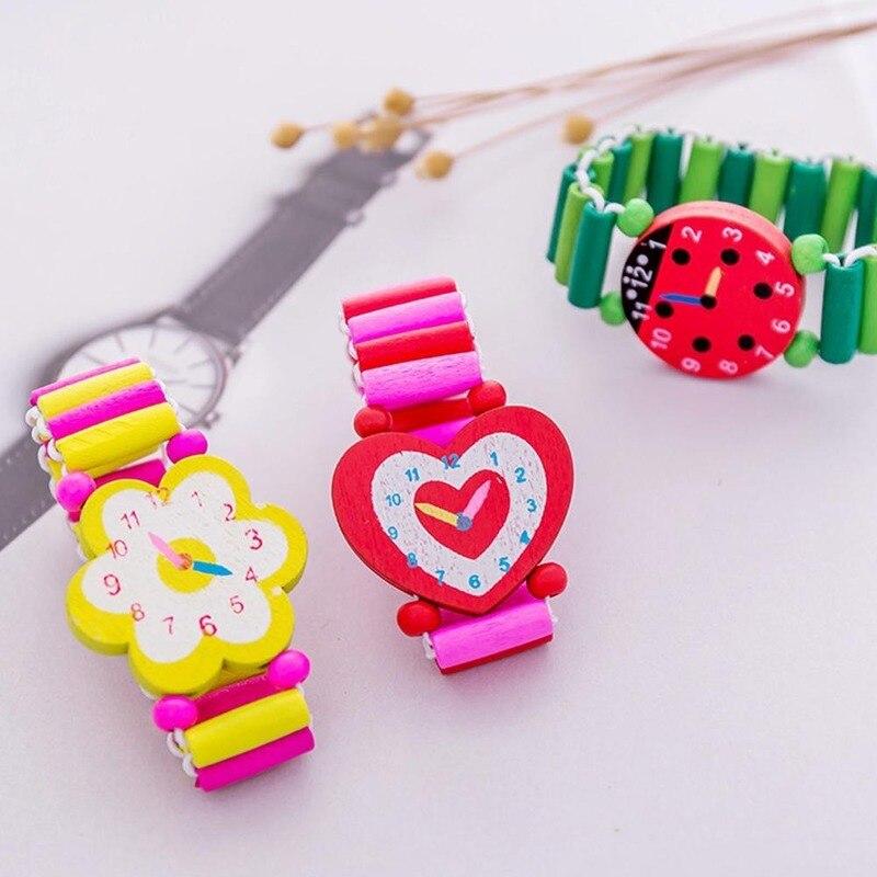 Kids Girl Colorful Wood Bracelets Children Elastic Watch Wristbands Child Toy Bracelet Wholesales Bi