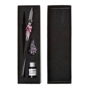 Vintage Handmade Art Elegant Crystal Glass Dip Pen Sign Ink Pens Gift