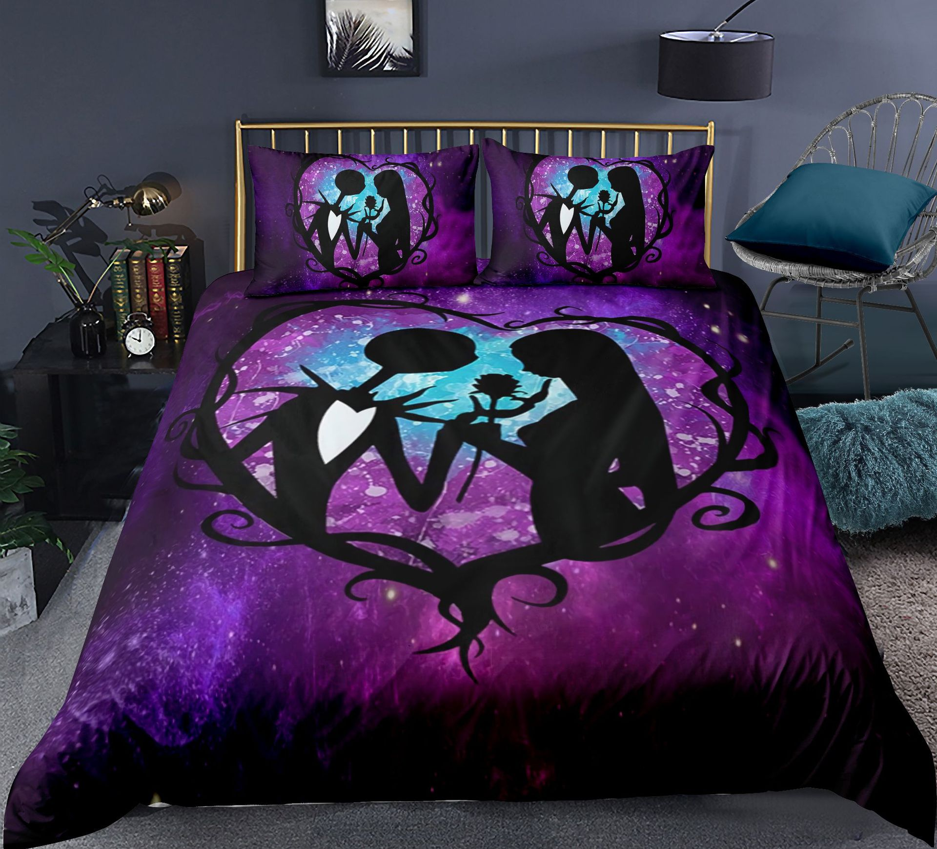 Nightmare Before Christmas Rose Bedding Set For Bedroom Soft Bedspreads Comefortable Duvet Cover Quilt Cover And Pillowcase nightmare before christmas 4pcs bedding set duvet cover bedspread pillowcases