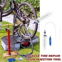 bicycle tubeless tire liquid injection tool 60ml tire tubeless sealant injector syringe rubber hose kit bike repair tools