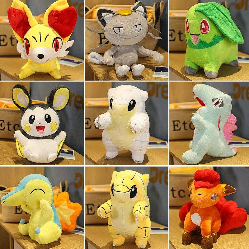 Pokemon 30cm Cyndaquil Sky Fox Chikorita Meowth Emolga Poliwrath Anime Figure Toys Plush Dolls Child Birthday Gift