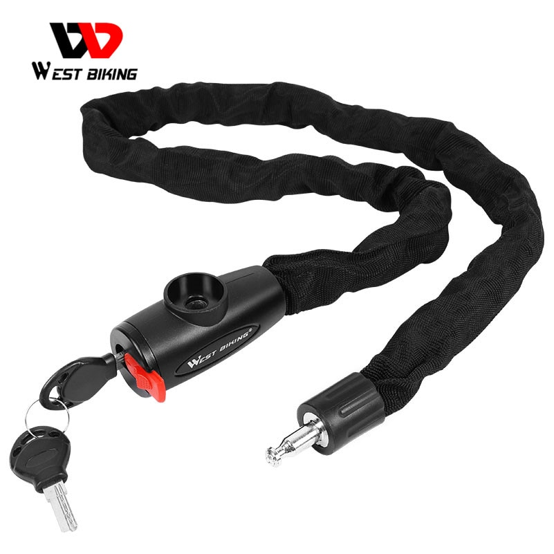 WEST BIKING Bicycle Lock MTB Road Bike Safety Anti-theft Chain Lock With 2 Keys Outdoor Cycling Bicy
