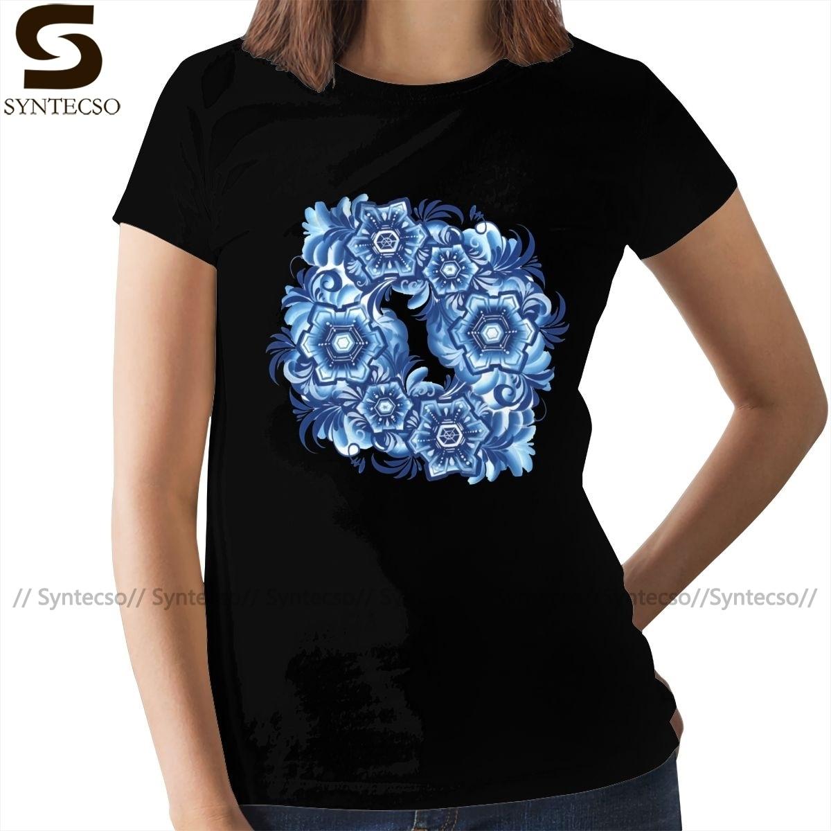 Gzhel, camiseta de copos de nieve, Camiseta de algodón estilo callejero para mujer, camiseta de manga corta con cuello redondo estampada para mujer