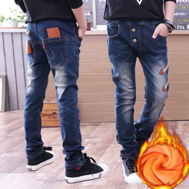 Niños adolescentes pantalones largos 6-14Yrs pantalones vaqueros para chicos invierno agregar pantalones de lana 2019 invierno cálido pantalón vaquero para niños ropa de marca