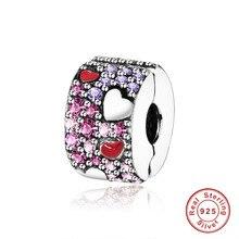 Bracelet à breloques Pandora Original en argent Sterling 925 perles asymétriques cœurs damour, rouge et rose violet CZ, bijoux à breloques