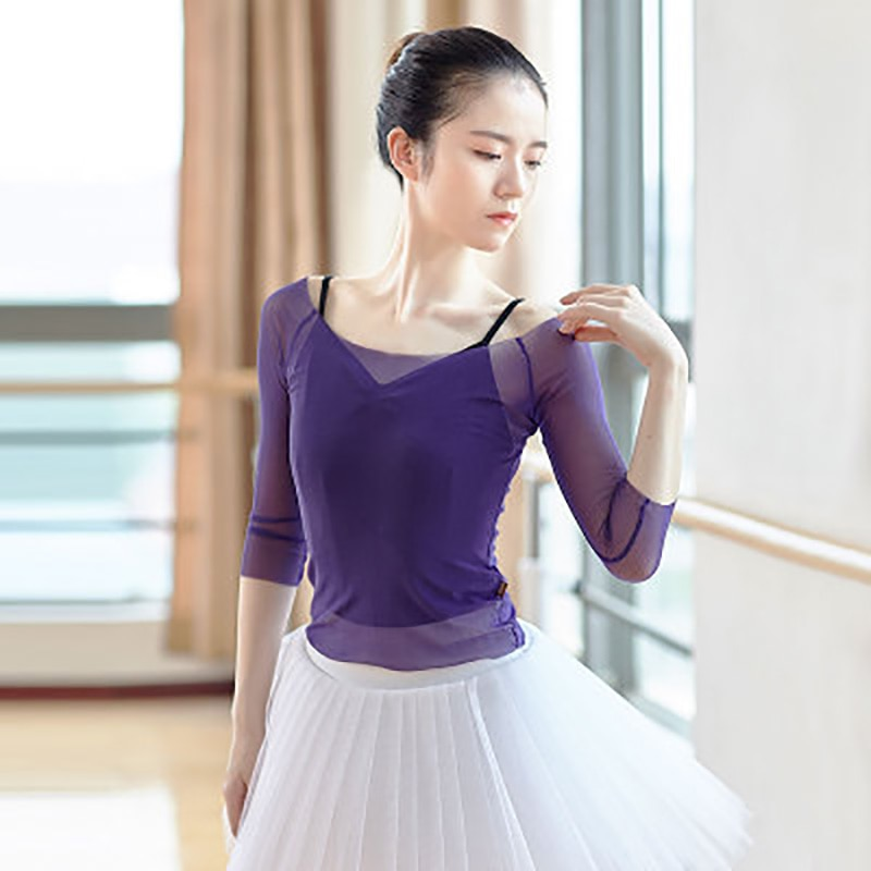 Leotardos de Ballet para mujeres de manga larga de malla suave baile Tops Sexy perspectiva gimnástico disfraces blusa