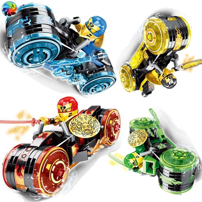 4 Types Ninja Motor Motorbike Model Figures Building Blocks Kids Toys Bricks Gift for Children Boys new ninja 70676 lloyd s titan mech spinjitzu building blocks ninja bricks with figures diy educational toys for children