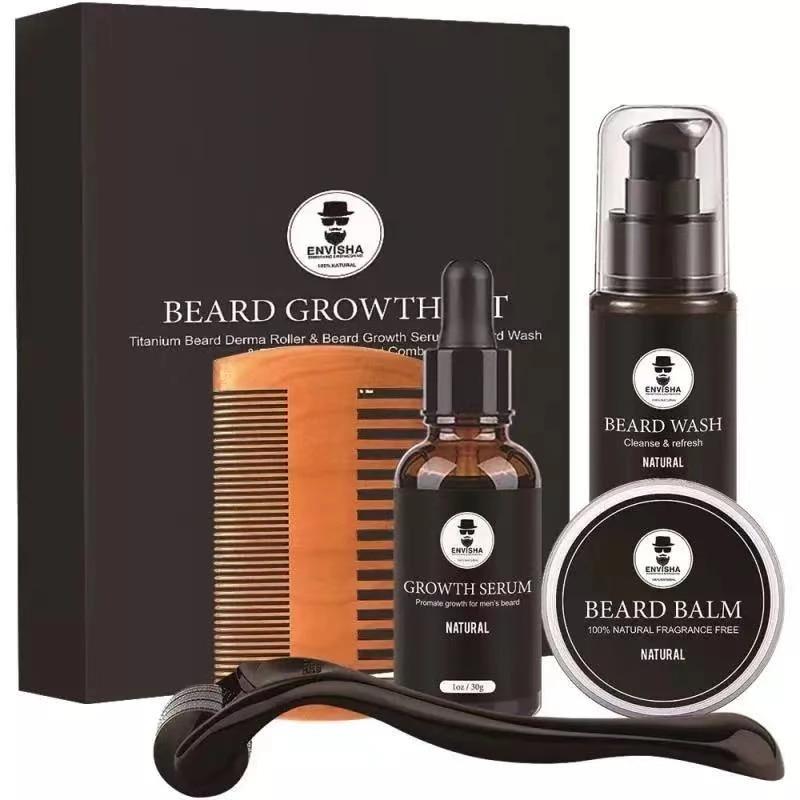 Men Barba Beard Kit Styling Tool Beard Essence Oil Comb Moustache Balm Moisturizing Wax Styling Scissors Beard Care Set 5pcs/set