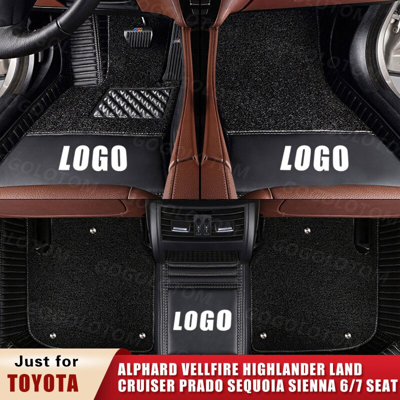 Custom Car Floor Mats for Toyota ALPHARD VELLFIRE H2 H3 HIGHLANDER U4 U5 Land Cruiser Prado Sequoia Sienna 6 7 Seats SUV MPV