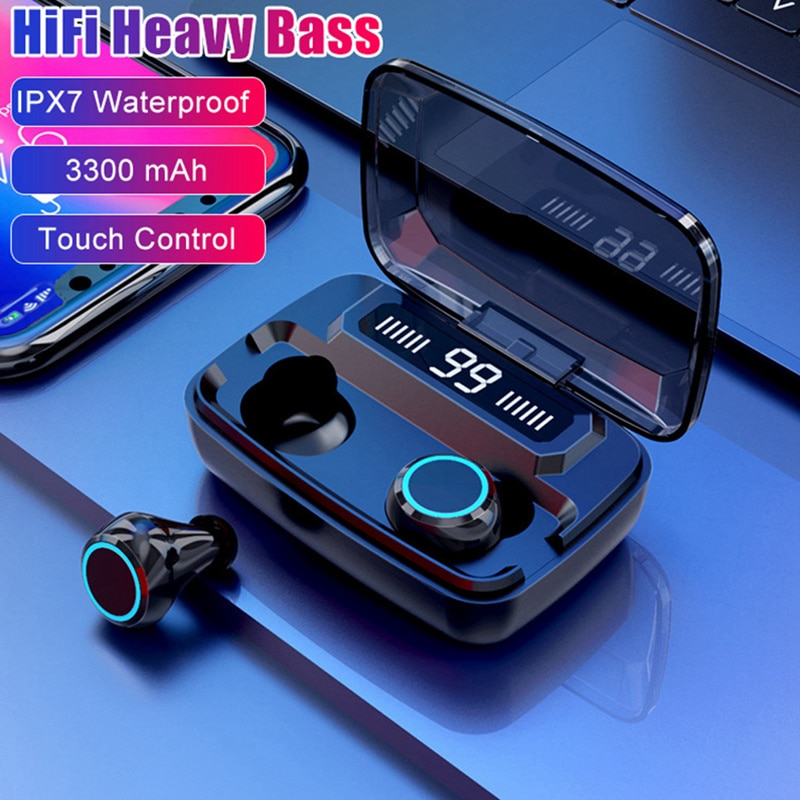 TWS Bluetooth Kopfhörer Drahtlose Kopfhörer Wasserdichte Ohrhörer Touch Control Sport Headset Noise Stornieren HIFI Kopfhörer 3300mAh
