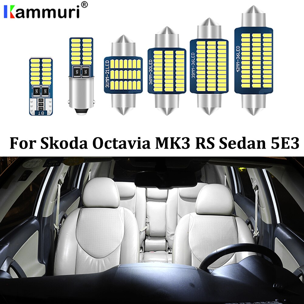 KAMMURI 17 Uds bombilla led tipo CANbus luces interiores + lámpara de matrícula para Skoda Octavia 3 MK3 A7 salón MKIII 5E3 sedan RS (2013 +)