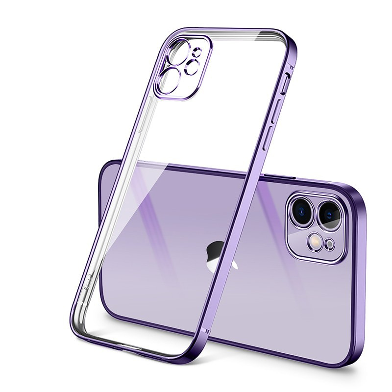 Luxury Plating Square Frame Matte Soft Silicone Case For iPhone 11 12 Pro Max Mini XR X XS 6 7 8 Plu