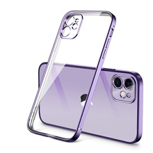 Luxury Plating Square Frame Silicone Transparent Case on For iPhone 11 12 13 Pro Max Mini X XR 7 8 Plus SE 2020 Clear Back Cover