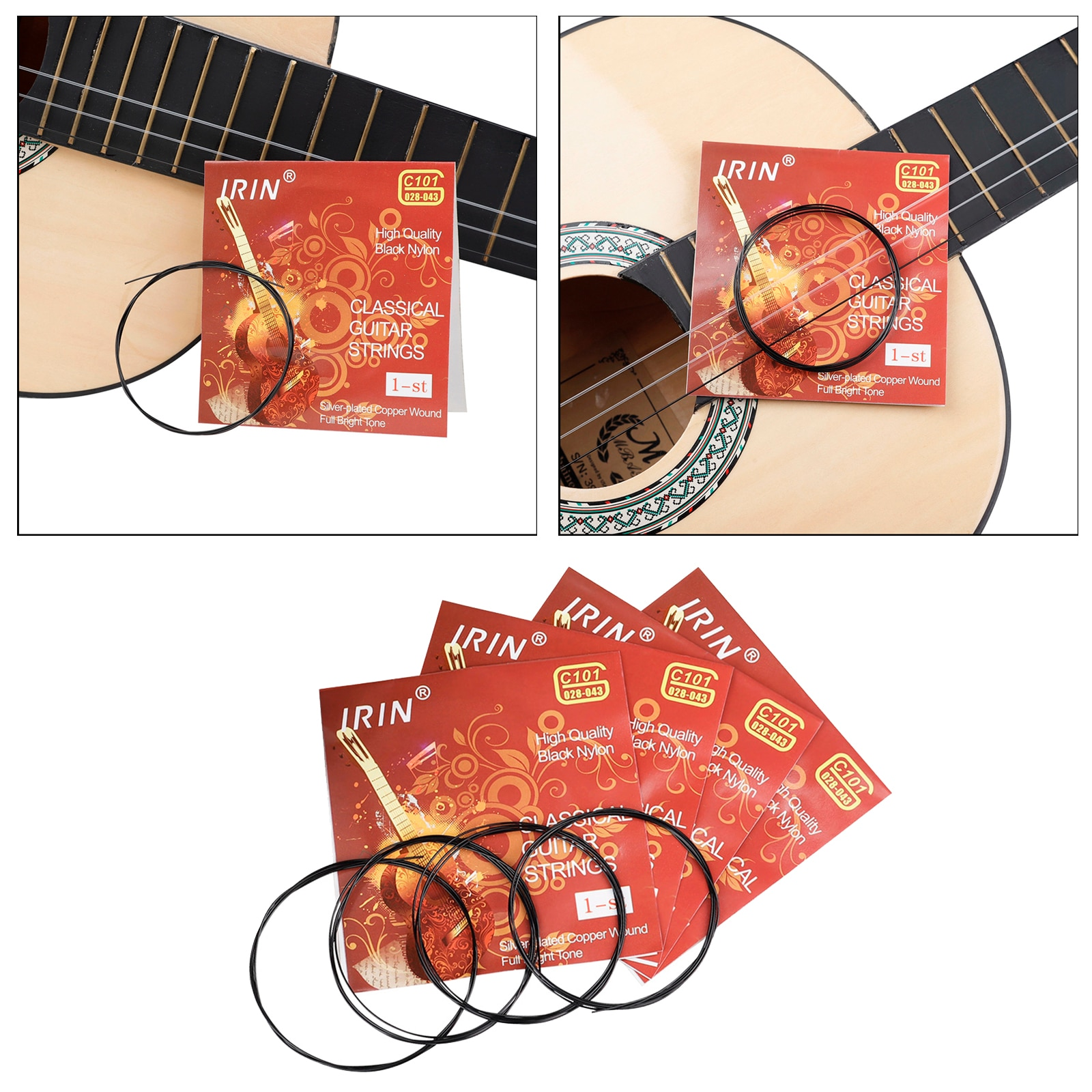 100 Pieces Professional Nylon Black String for Classic Guitar Strings Parts enlarge