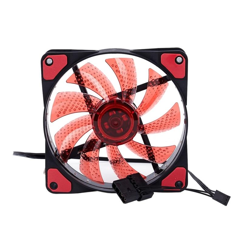 15 Lights LED PC Computer Chassis Fan Case Heatsink Cooler Cooling Fan DC 12V 4P 120*120*25mm red
