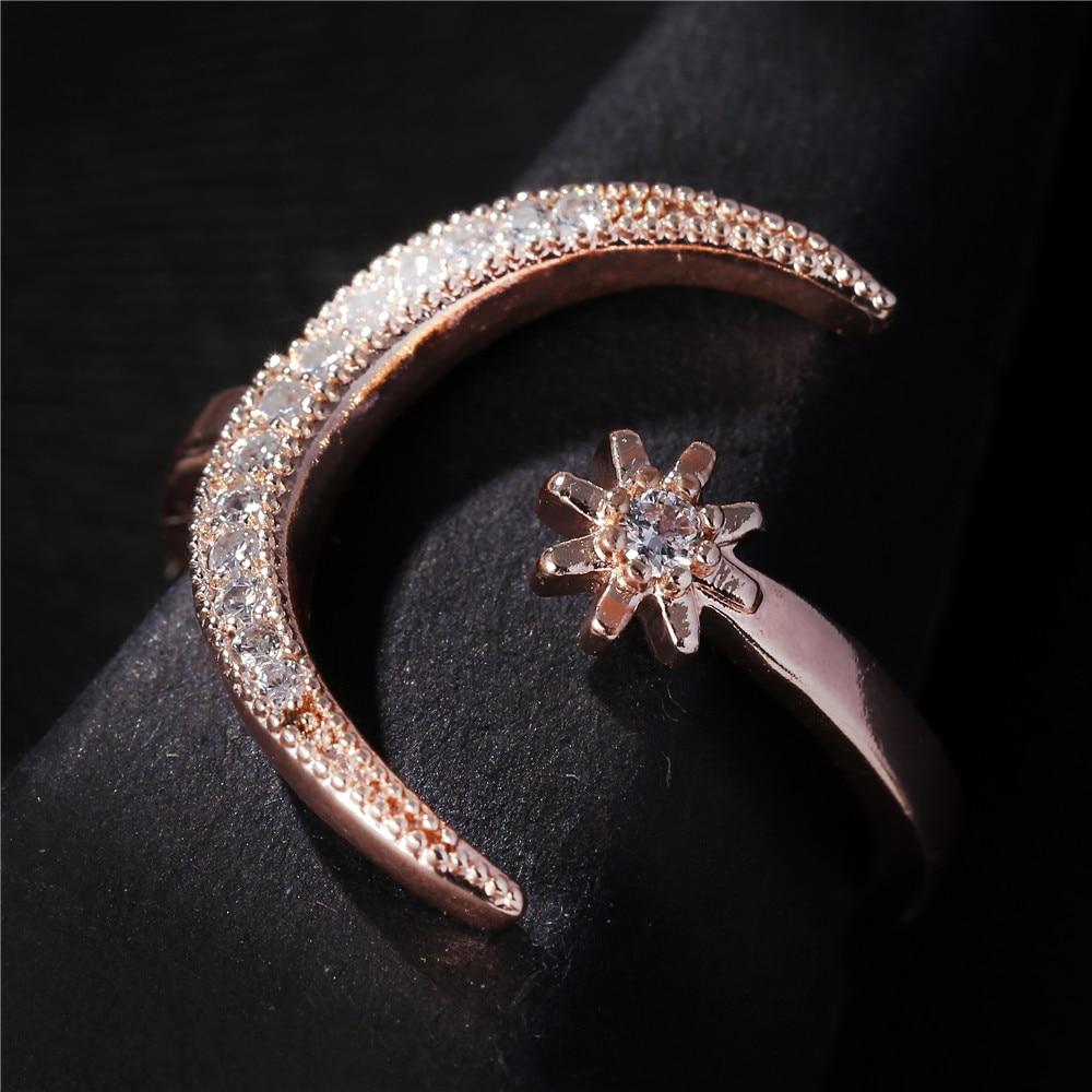 2019 nuevo anillo de moda luna y estrella deslumbrante anillos abiertos para dedos para mujeres niñas joyería anillo de cristal anillo de compromiso de boda regalo de joyería