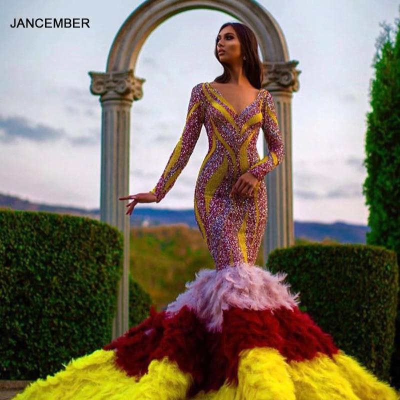 J67055 فستان سهرة مثير على شكل حورية البحر للنساء ، ياقة على شكل v ، اكمام طويلة ، ملون ، فحم الكوك ، مع أربطة في الخلف ، 2021