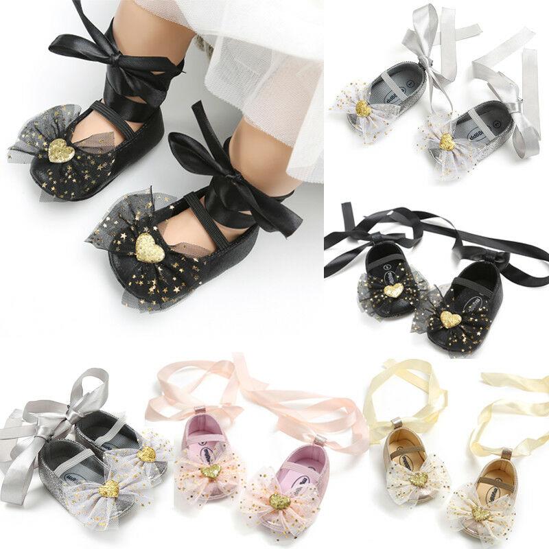 Lentejuelas bebé niñas infantes, suela suave, zapatos niñas, lazo, zapatos para niños pequeños, primeros pasos