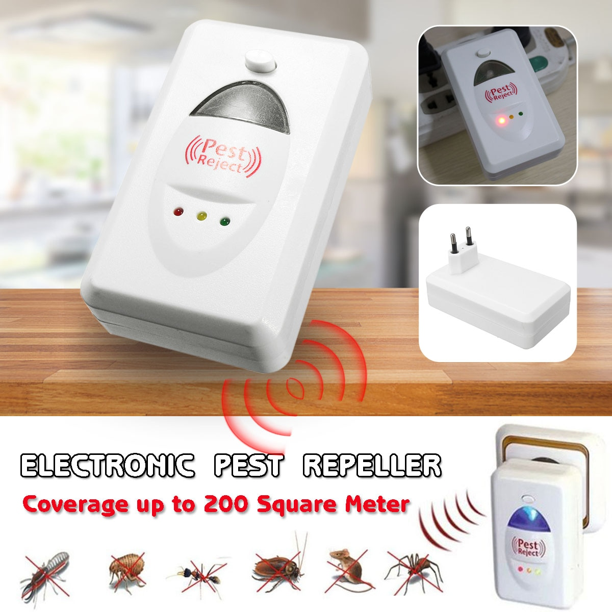 220V luz efectiva repelente ultrasónico Control electrónico ratones repelentes de plagas roedor cucaracha Mosquito asesino de insectos