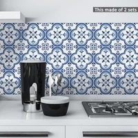 funlife%c2%ae portuguese pattern tiles tile sticker self adhesive waterproof kitchen backsplash wall sticker easy to clean oil proof