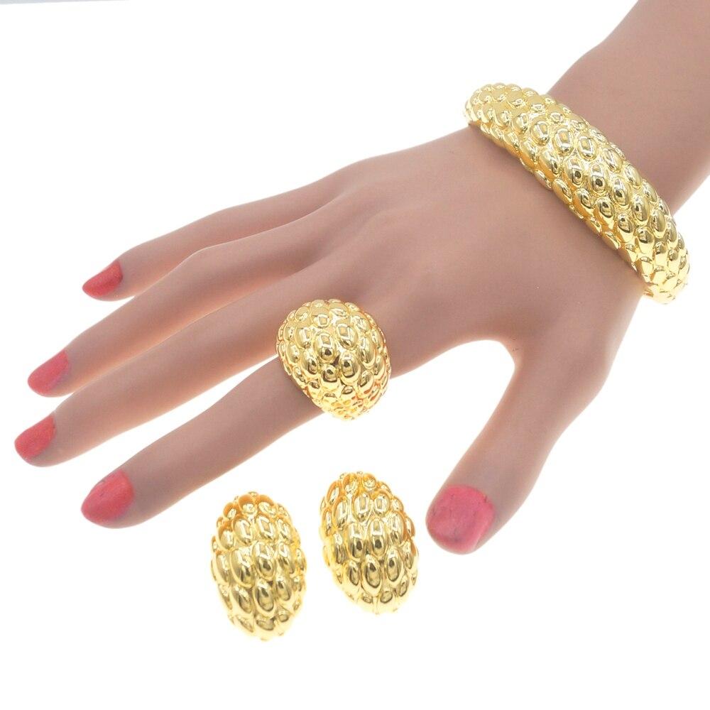 Yulaili دبي الذهب والمجوهرات مجموعات النساء قلادة أقراط سوار خاتم الزفاف حلية الزفاف الهدايا والمجوهرات مجموعة هدايا بالجملة