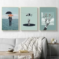 abstract canvas painting surrealism classic artwork fantasy posters and prints wall art picture for living room cuadros decor