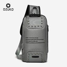OZUKO mode hommes Rivet sacs à bandoulière Anti-vol sac de messager USB charge poitrine Pack court voyage sac à bandoulière hydrofuge