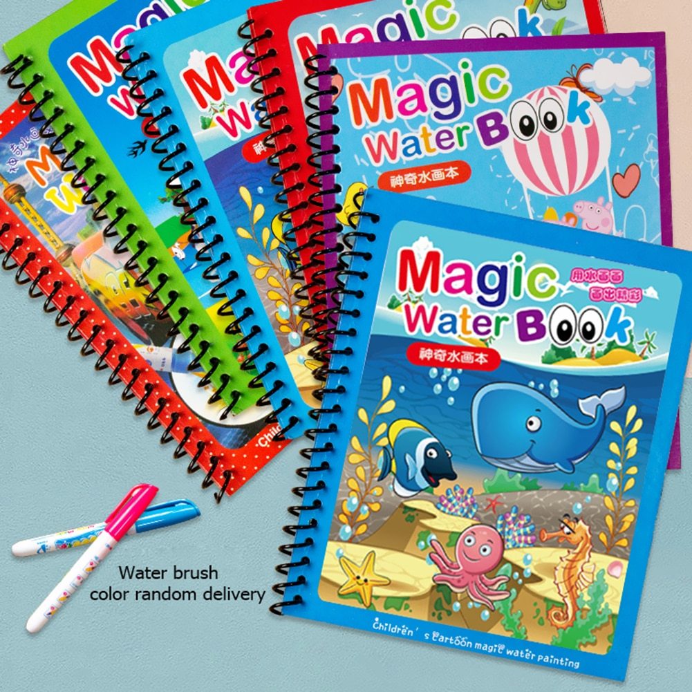 Libro mágico de dibujo de agua para niños, libro para colorear, bolígrafo...