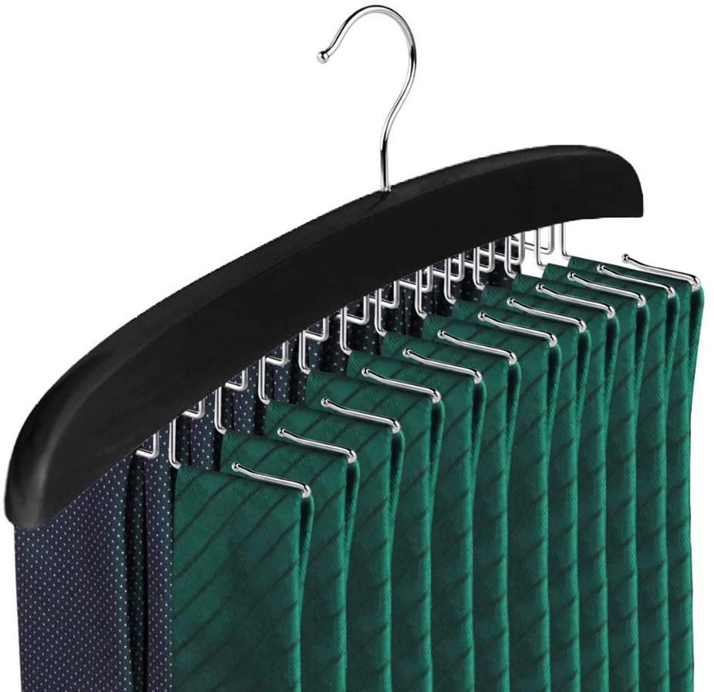 Деревянная вешалка для галстуков, подвесной органайзер для мужских аксессуаров, компактный держатель для галстуков для хранения и демонст...