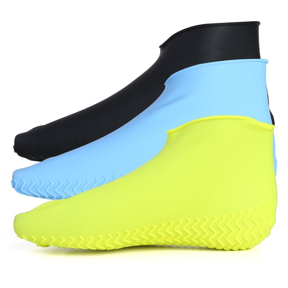 1 paire imperméable chaussures couverture Silicone anti-dérapant pluie bottes chaussures protecteurs couvre-chaussures plein air cyclisme Sport chaussure couverture réutilisable