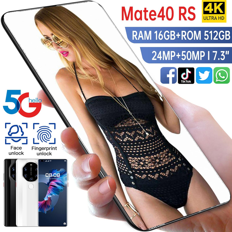 Mate40 RS لعبة الهاتف الذكي 7.3 بوصة 16GB 512GB كبيرة بطارية 6800mah 24MP 50MP الوجه بصمة إفتح الهاتف المحمول أنف العجل 888