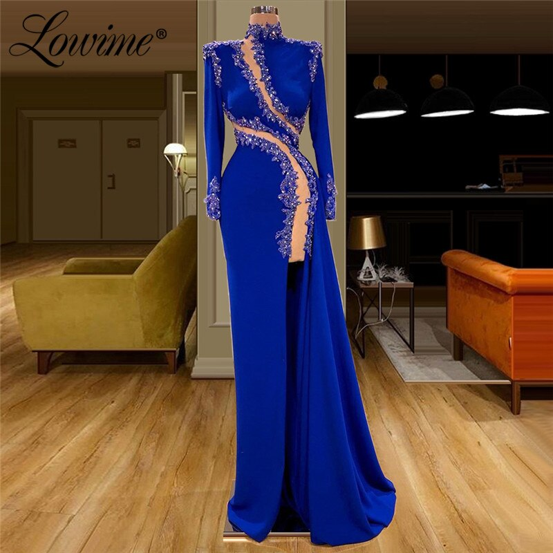 Design especial applique frisado vestidos de noite azul real vestido de festa 2020 dubai árabe sereia vestido de baile robe de soiree personalizado