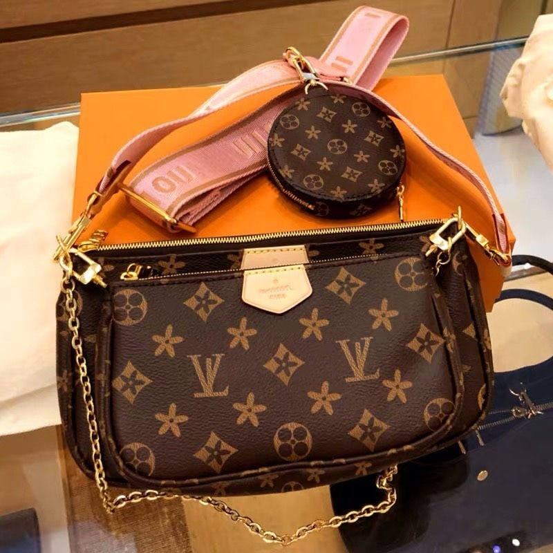 New presbyopic three-in-one mahjong bag fashion wide shoulder strap crossbody coin purse women's sho