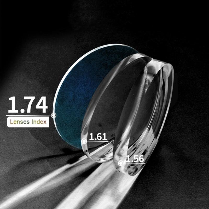 1.74 رؤية واحدة عالية الانكسار مؤشر شبه الكروي النظارات البصرية وصفة طبية العدسات المضادة للخدش والإشعاع