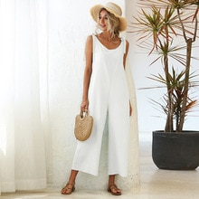 Summer Jumpsuits Women Romper Off Shoulder Backless Sleeveless Playsuit Solid Casual Homewear Wide l