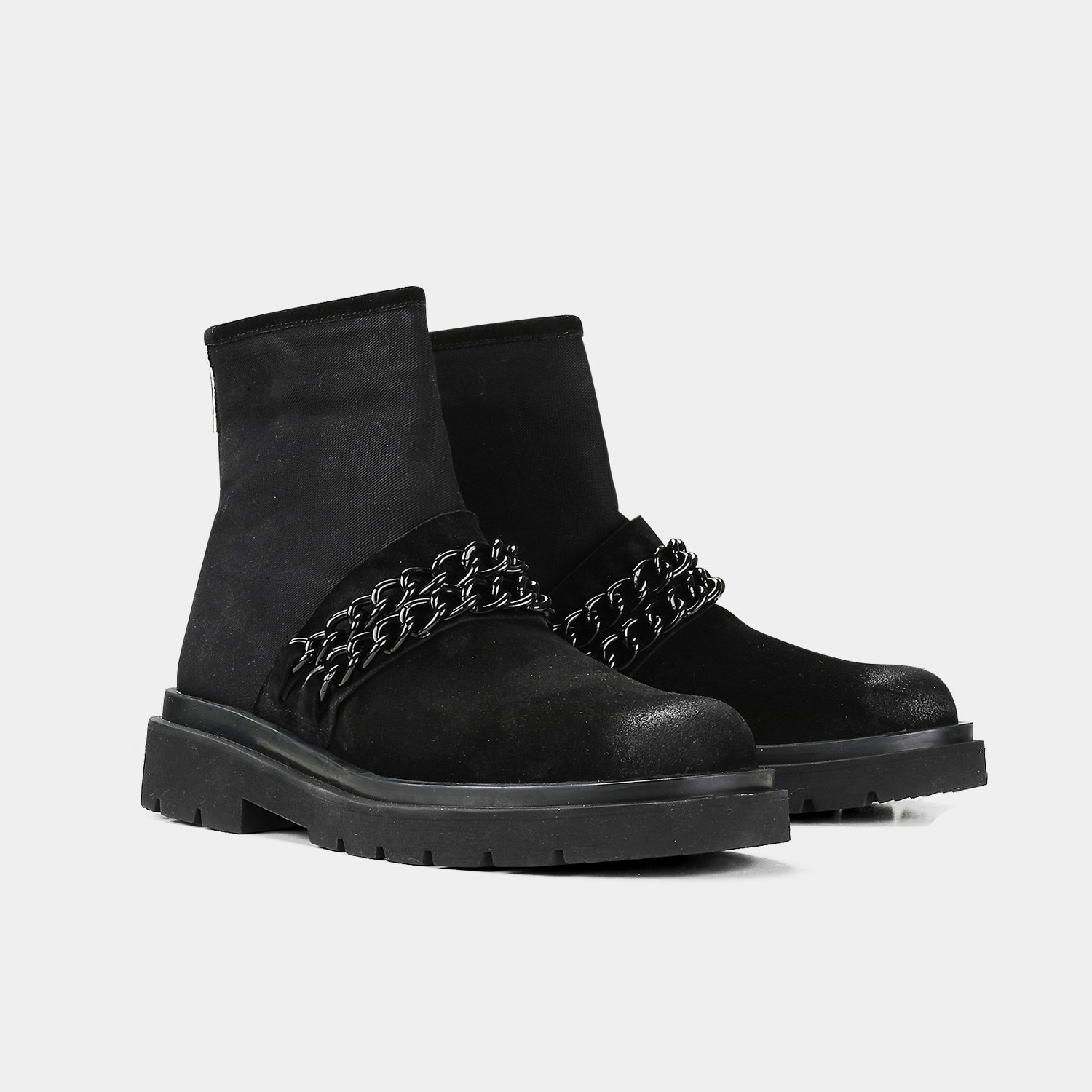 Gothic Dark Wind Chain Decoration Personality High-top Shoes Men's Leather Ankle Boots Heel Zipper Boots