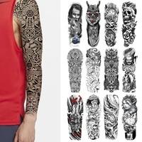 realistic full arm fake tattoo sticker for men women skull temporary tattoos sleeve body art tatoo paper black waterproof tatoo
