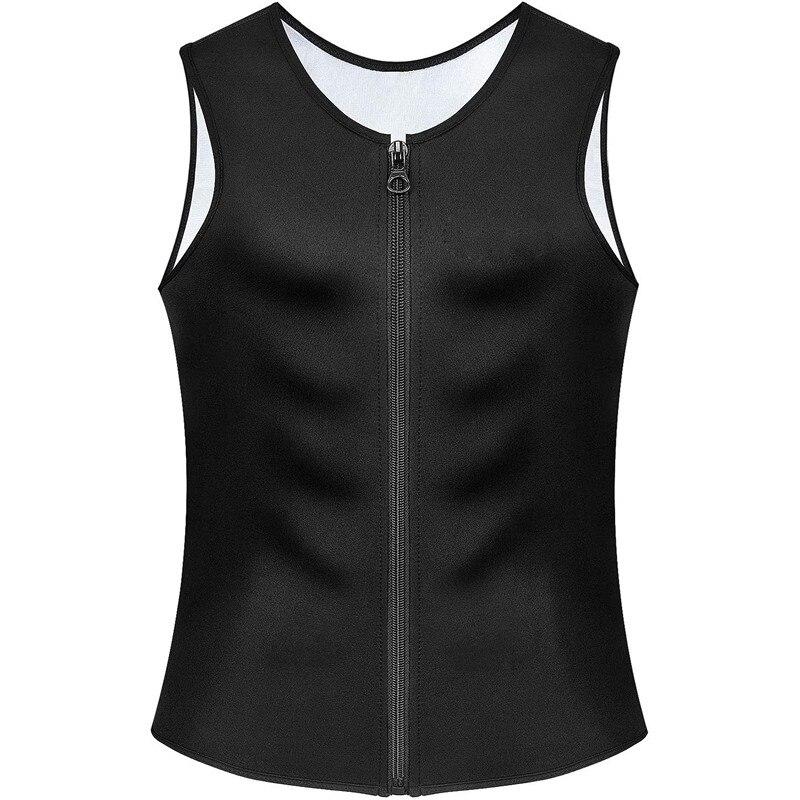 Mais novo vendas quentes dos homens em 2020 suor terno shaper corpo espartilho para perda de peso com zíper cintura trainer colete tanque camisa de treino superior