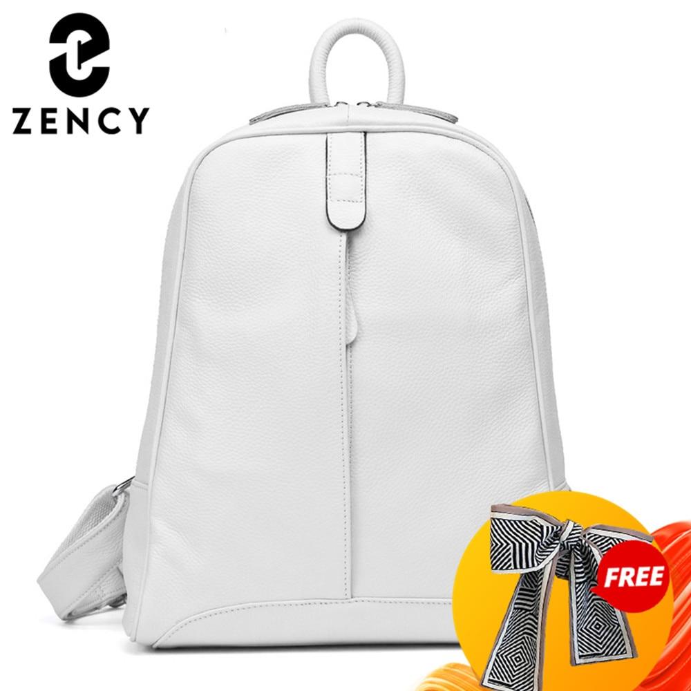 Zency 100% Soft Genuine Leather Fashion Women Backpack Casual Travel Back Pack Bag Preppy Style Girl's Schoolbag Laptop Knapsack