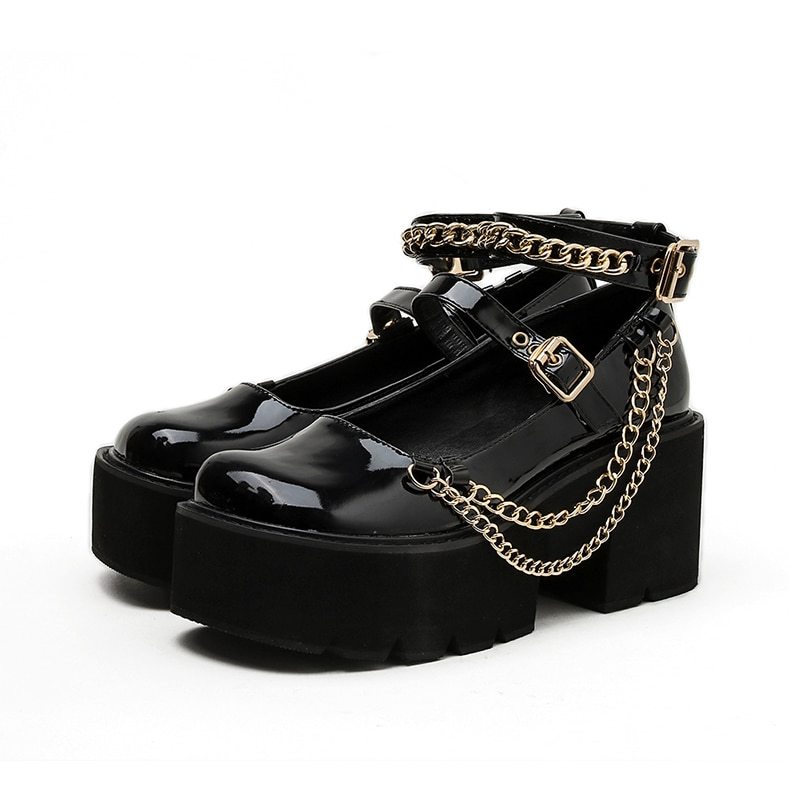 Women's Goth Mary Jane Shoes Buckle Platform Patent Leather Chain Chunky High Heel Punk Gothic Pumps