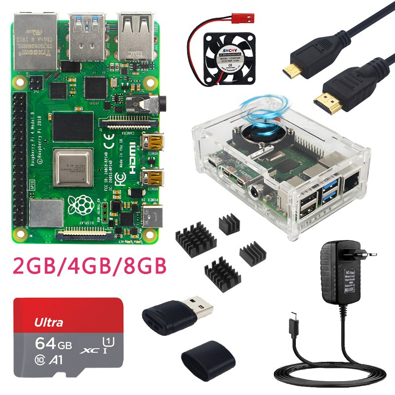 Original Raspberry Pi 4 Model B 8GB 4GB 2GB RAM + Case + Fan + Heat Sinks + Power Adapter + 32/64/128 GB TF Card for RPI 4B