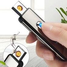 USB Кнопка Двусторонняя зарядка Зажигалка электронная ветрозащитная зажигалка