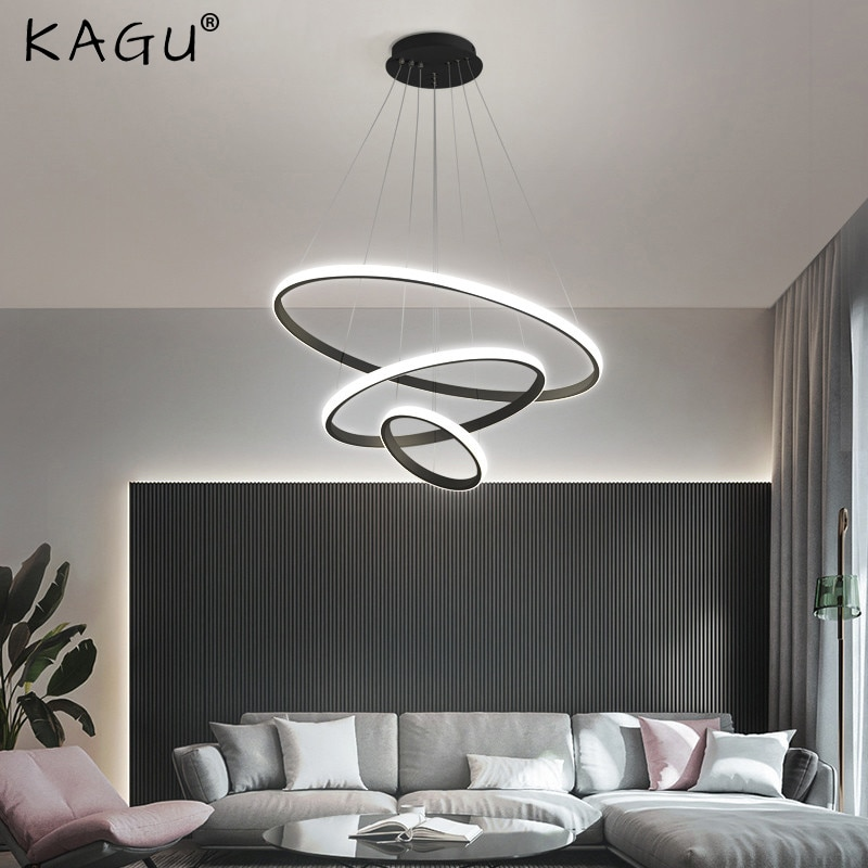 Modern Pendant Lamp Led Rings Circle Ceiling Hanging Chandelier Black Loft Living Dining Room Kitchen Indoor Lighting Fixture