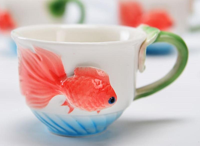 Pez Dorado taza de té 3D Lotus esmalte taza de café creativo hueso China Drinkware chino Kung Fu Copo